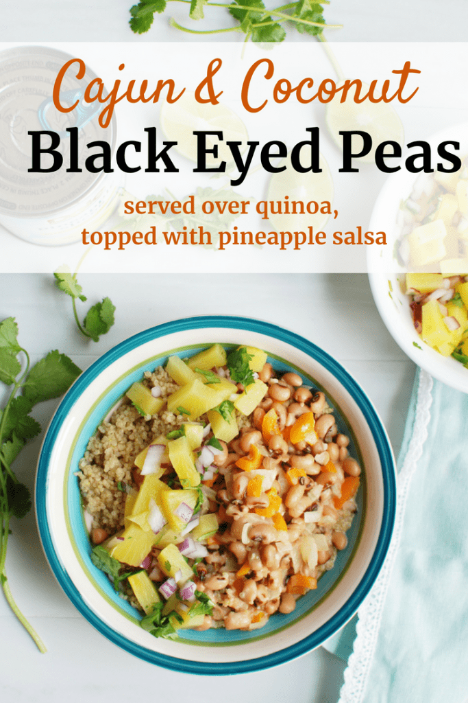 Vegan black eyed peas served over quinoa with pineapple salsa