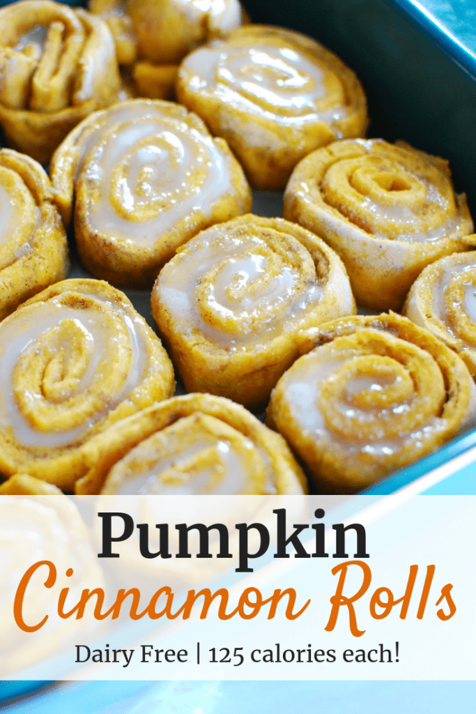 Easy pumpkin cinnamon rolls in a square baking dish