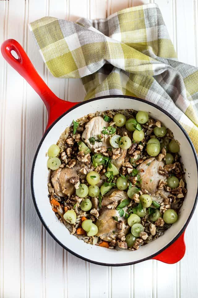 Dairy Free Gluten Free braised chicken thighs in a pan