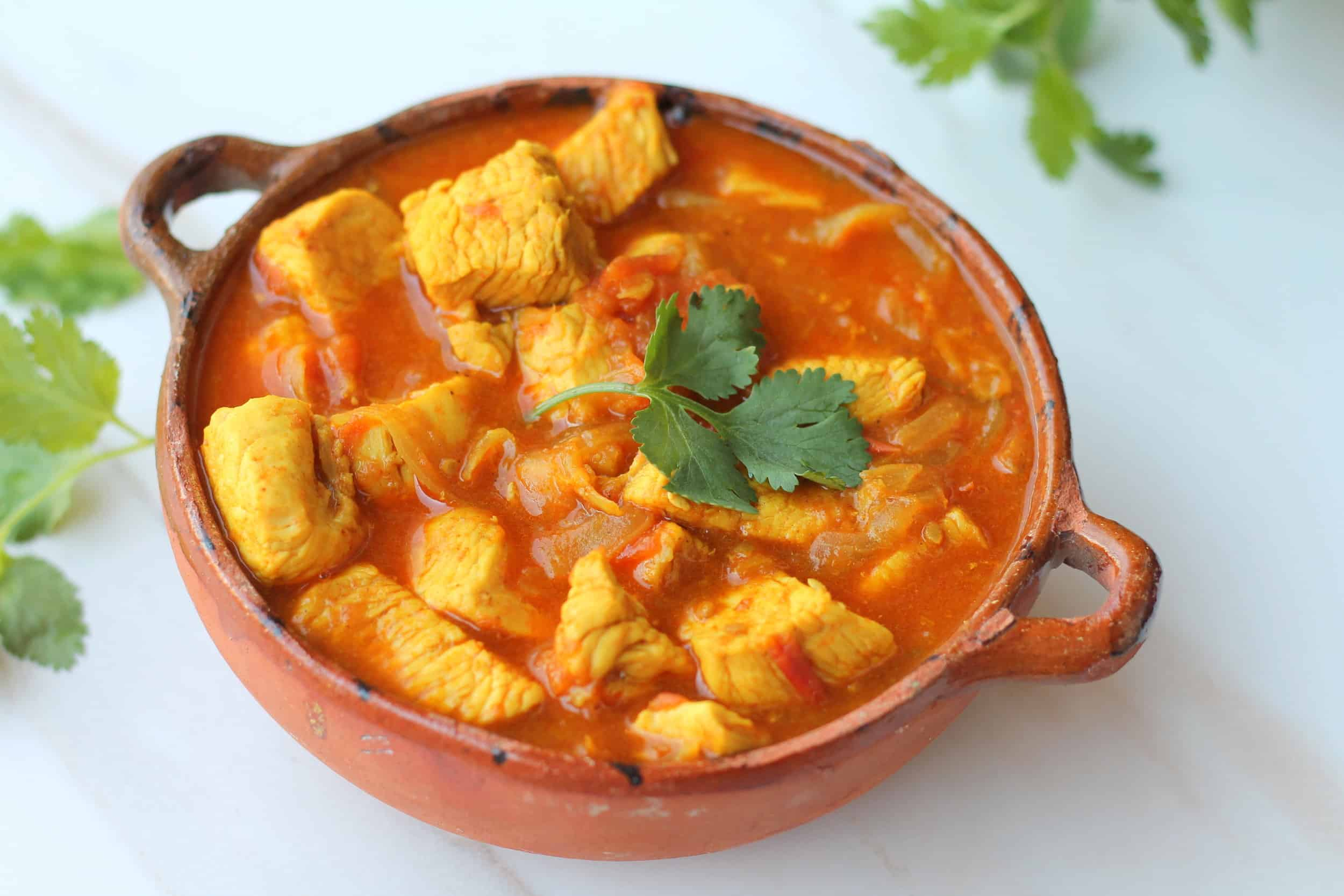 Gluten free dairy free chicken curry in a bowl