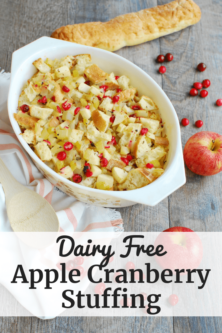 Dairy free stuffing with cranberries and apples