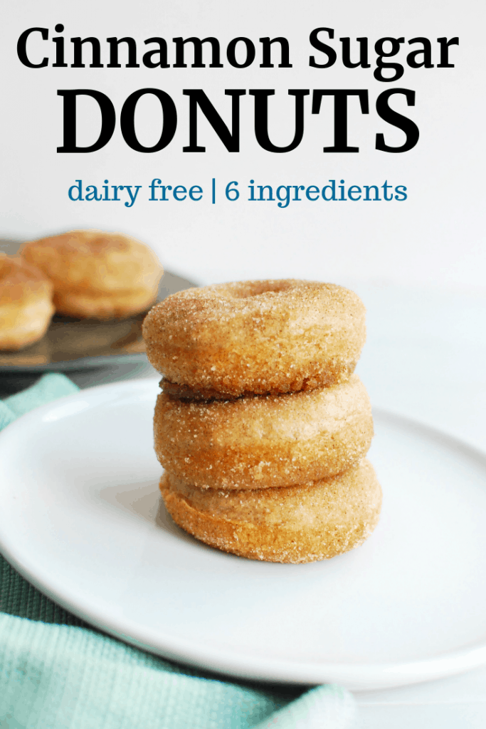 three cinnamon sugar dairy free donuts on a white plate