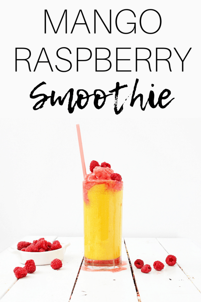 Mango raspberry smoothie in a glass