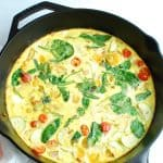 A dairy free frittata made in a cast iron skillet