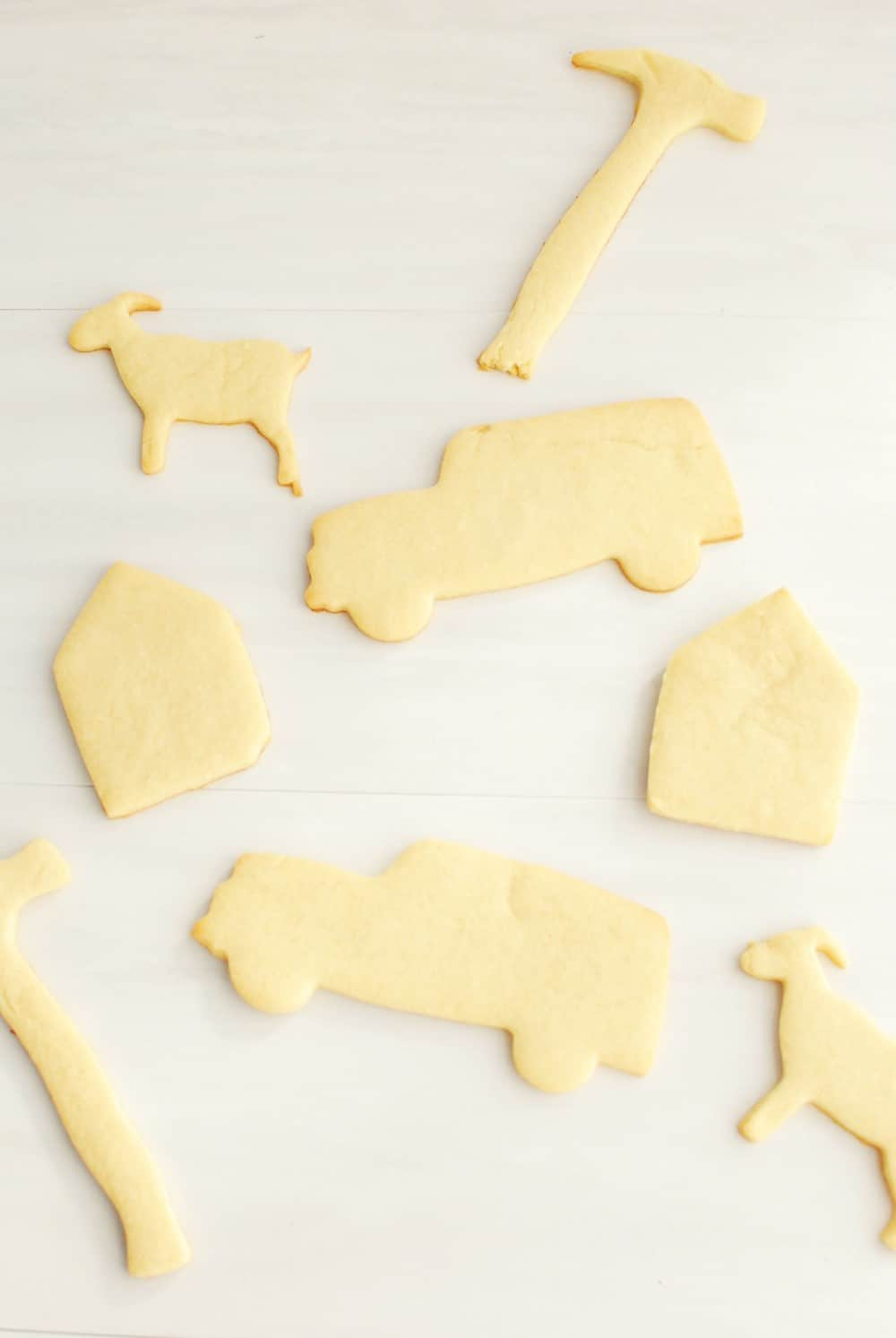 Dairy free sugar cookies in various shapes