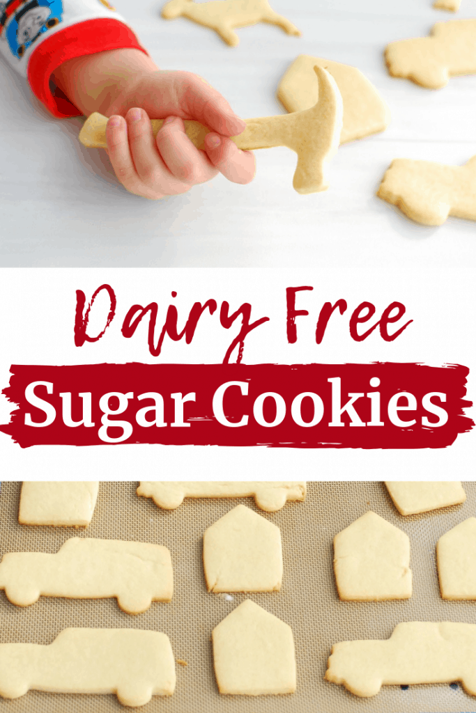 A collage image of dairy free sugar cookies and a child holding one of the cookies
