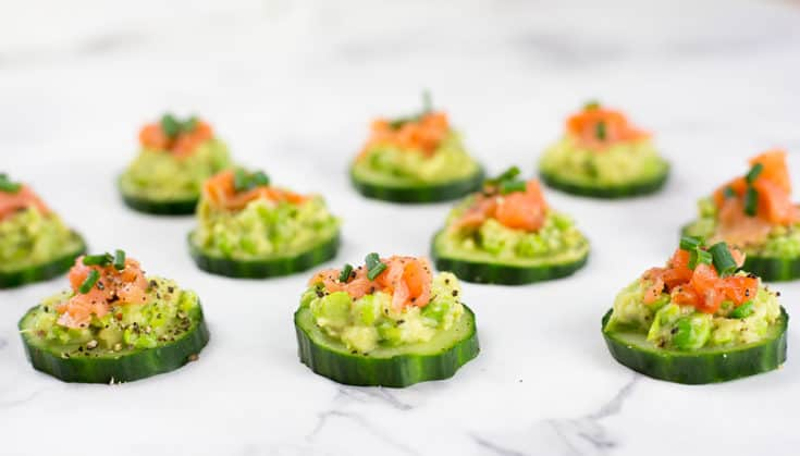 Dairy Free Salmon Cucumber Bites on a marble countertop
