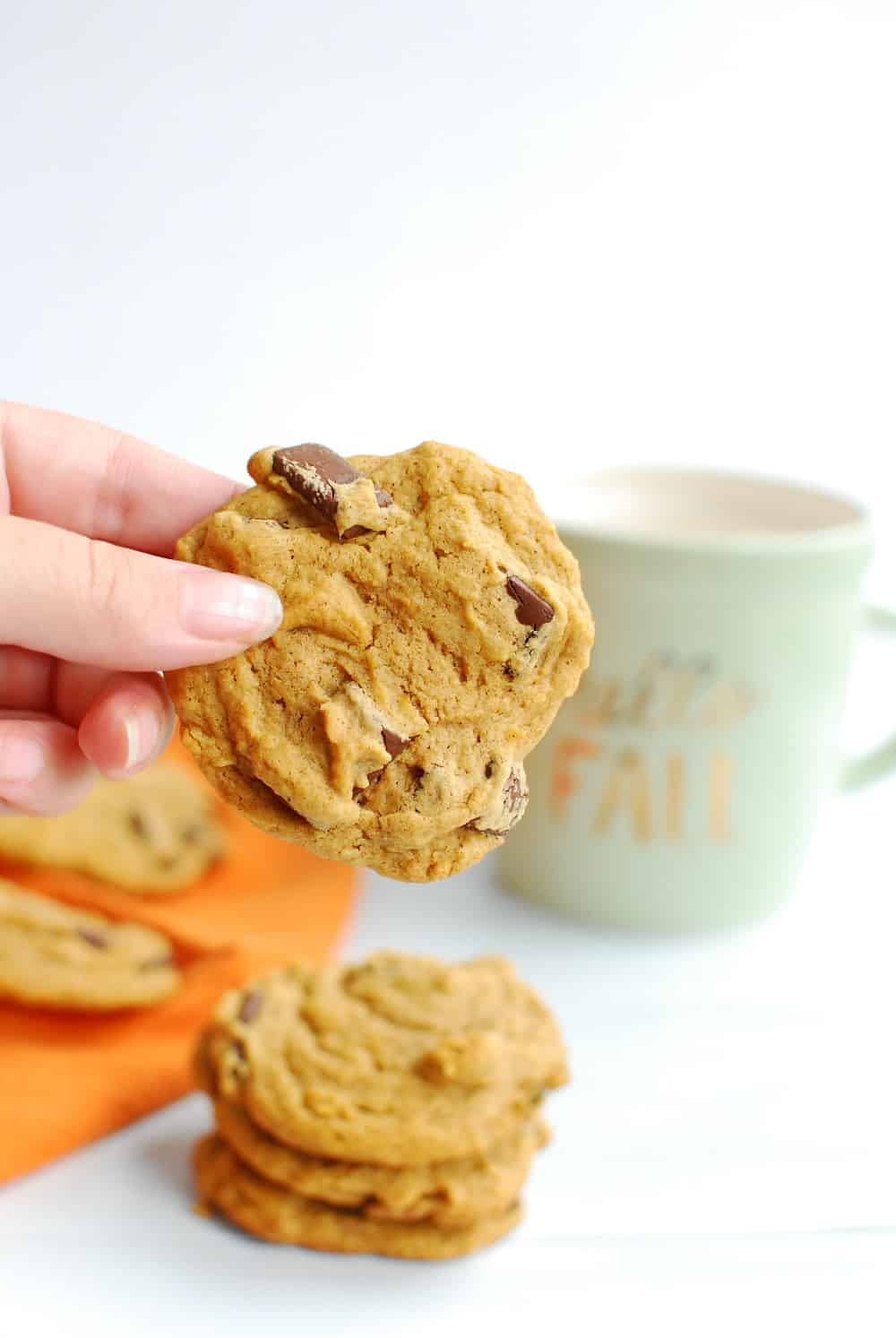 A woman's hand holding a delicious vegan pumpkin chocolate chip cookie