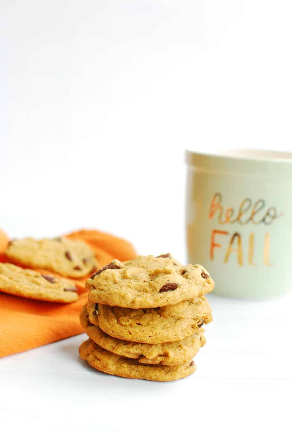 A stack of vegan pumpkin chocolate chip cookies