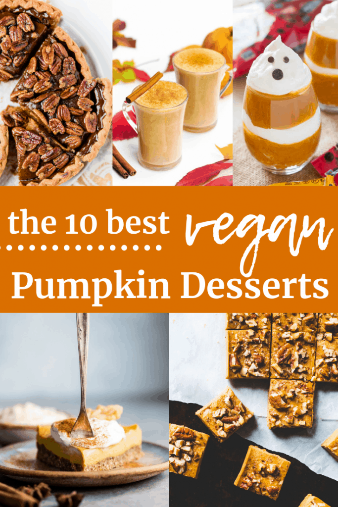 Collage of several different vegan pumpkin desserts