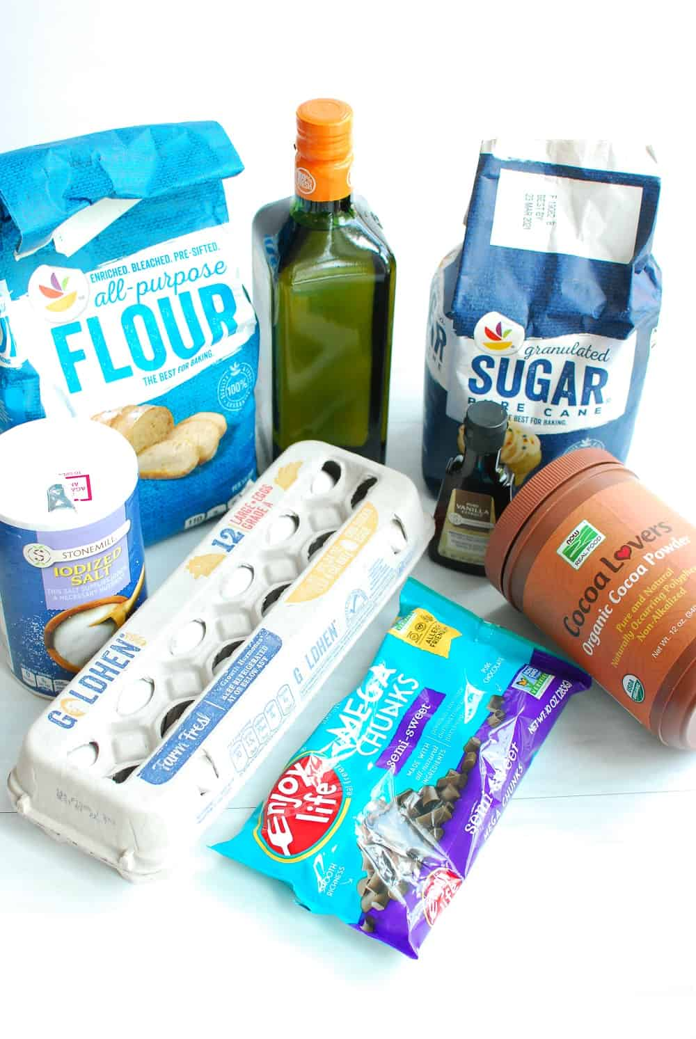 All the ingredients needed to make dairy free brownies