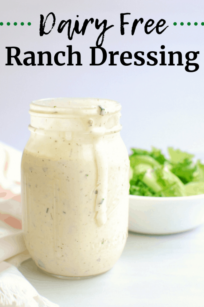 A mason jar full of dairy free ranch dressing