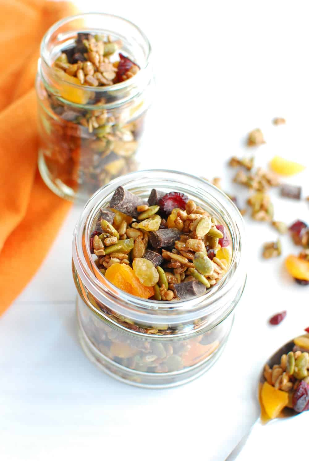 A jar of nut free trail mix