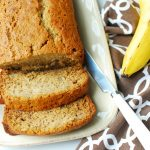 Sliced dairy free banana bread on a plate