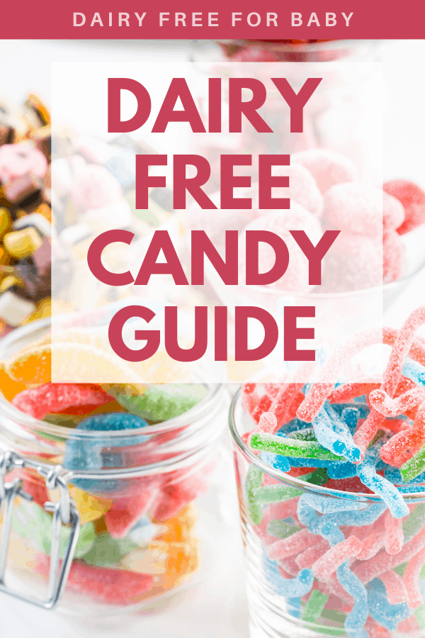Several glass jars full of different kinds of candies with a text overlay about dairy free candy