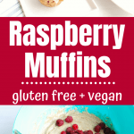 Collage image of muffin batter with raspberries and cooked gluten free raspberry muffins