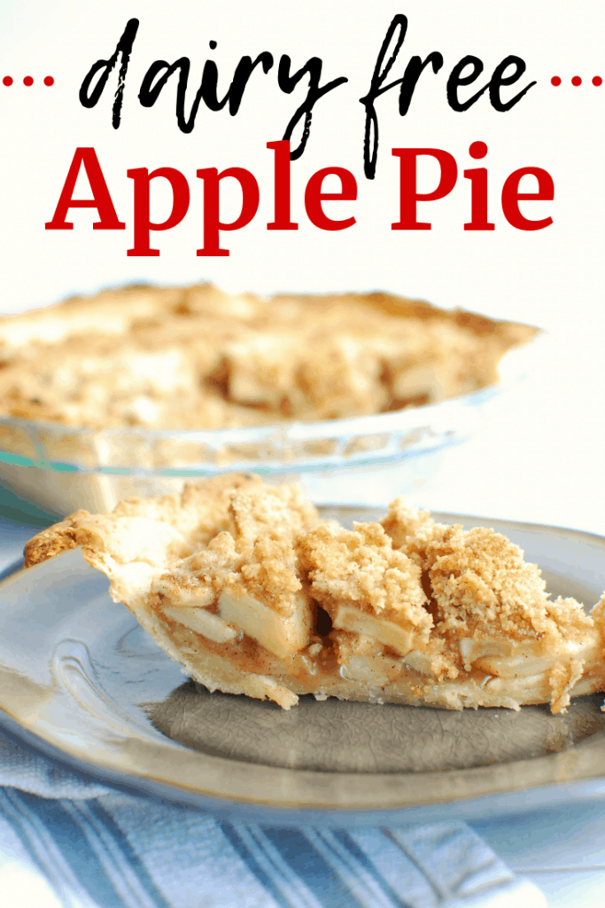 A slice of dairy free apple pie on a plate