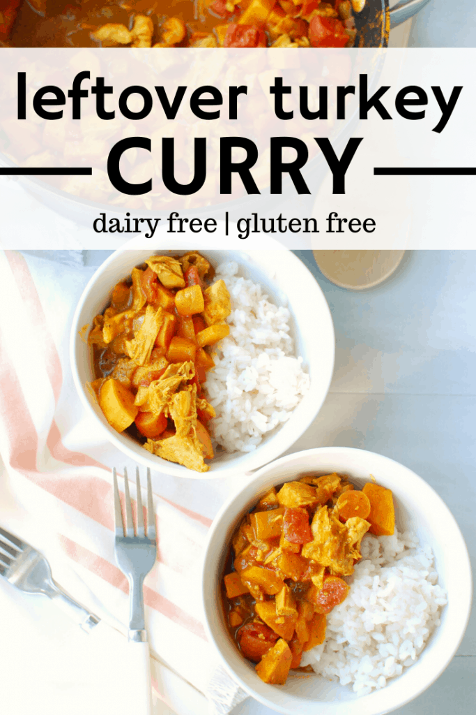 two bowls with leftover turkey curry and rice
