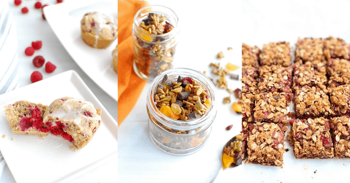 Raspberry muffins, trail mix, and strawberry bars