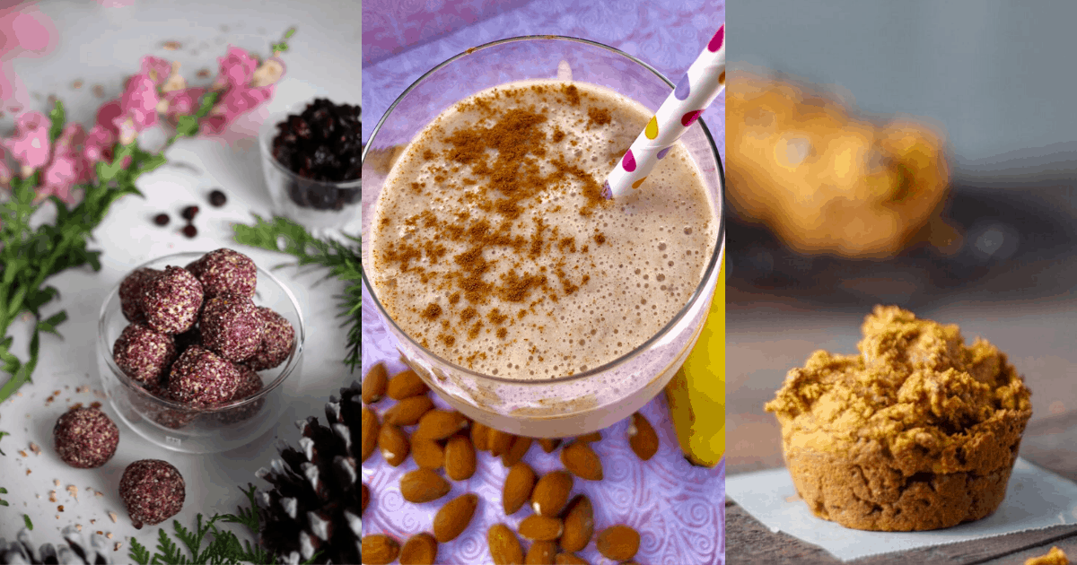 cranberry energy bites, a banana smoothie, and pumpkin muffins
