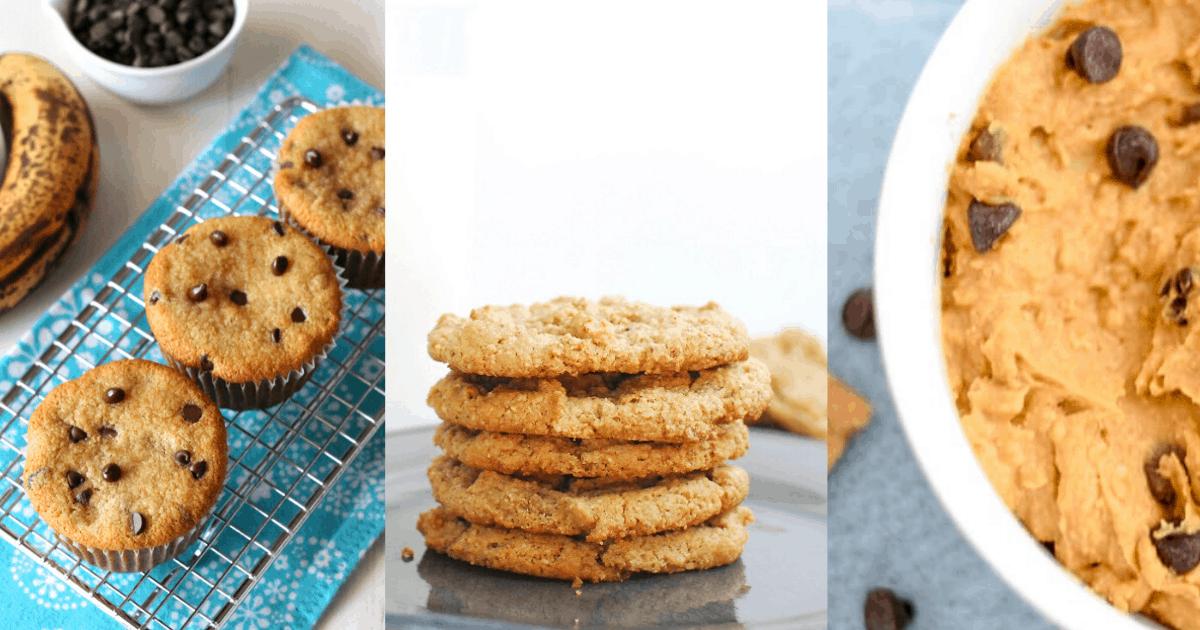 banana muffins, peanut butter cookies, and sweet potato dip
