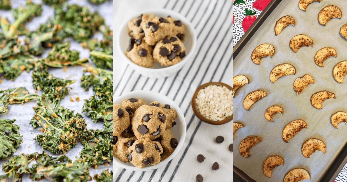 an assortment of gluten free dairy free snack recipes including kale chips, almond butter bites, and apple chips