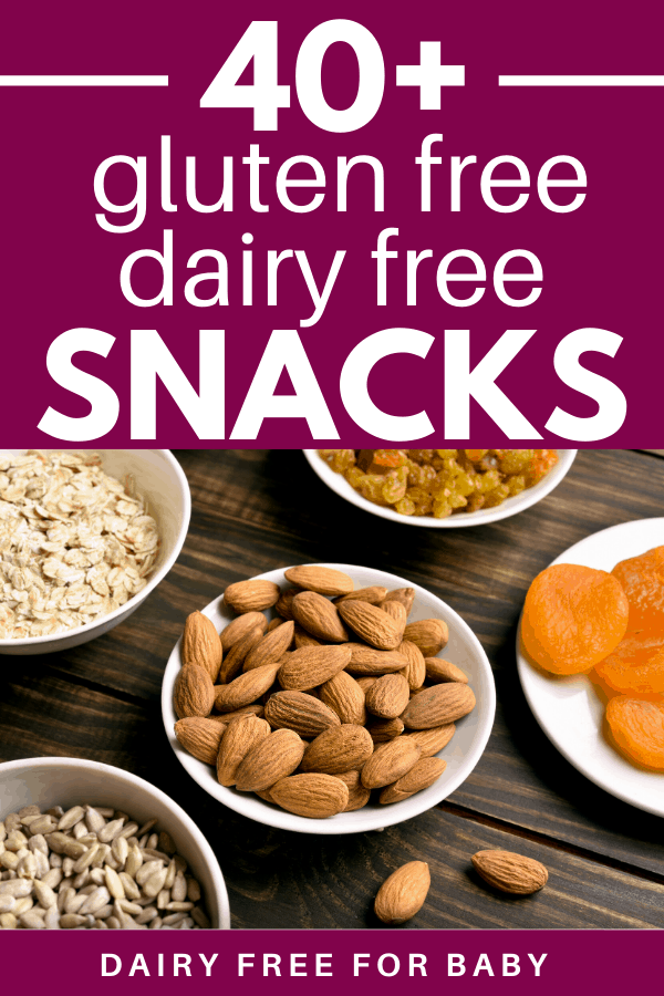 Nuts, seeds, and dried fruit with a text overlay abut gluten free dairy free snacks