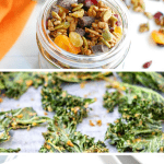 a collage of several gluten free dairy free snack recipes, including trail mix, kale chips, and raspberry muffins