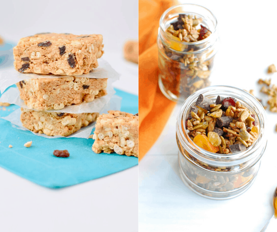 peanut butter cereal bars and maple nut free trail mix