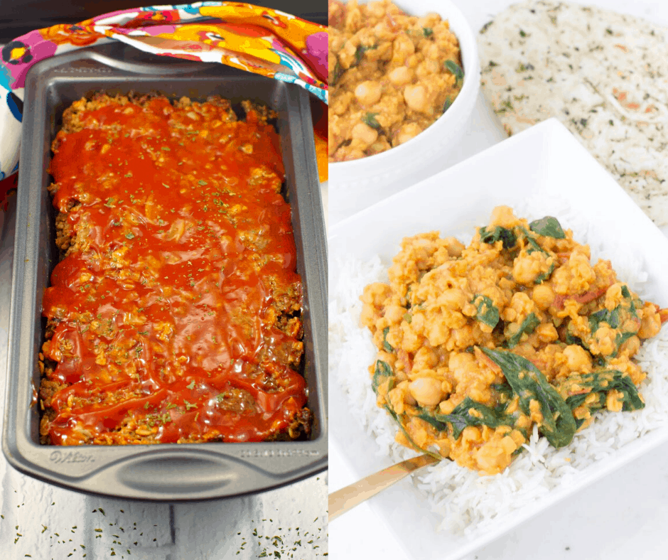a pan of a meatloaf and a plate of chickpea lentil curry
