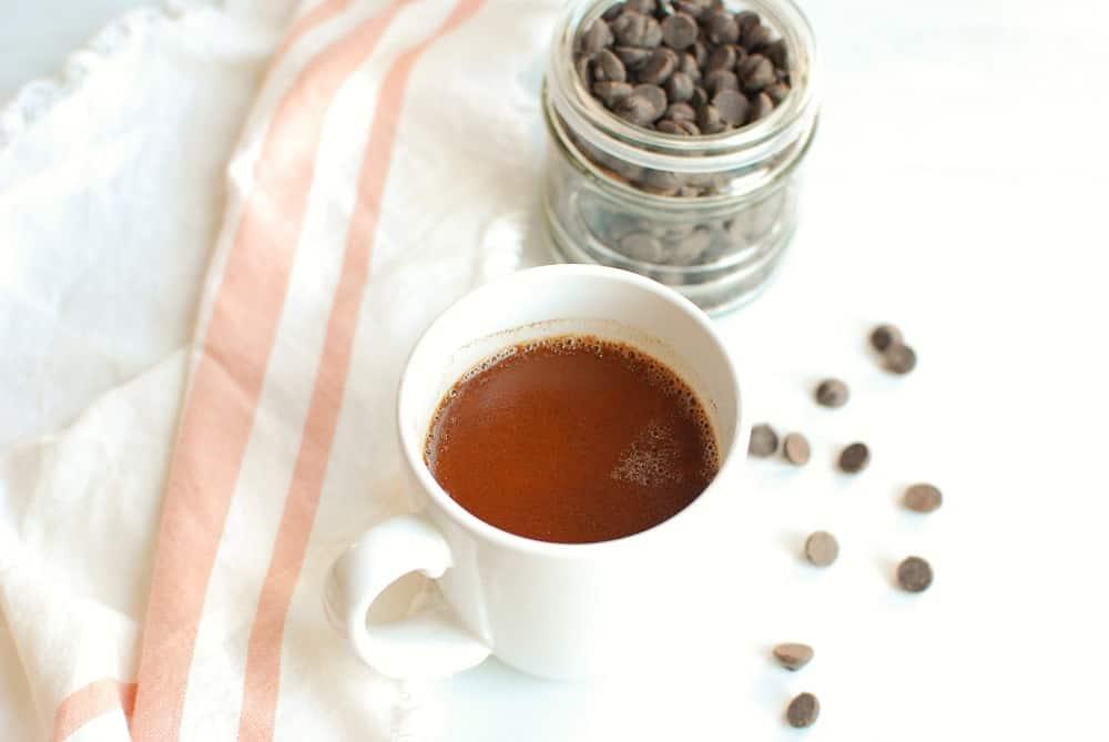 a mug of rich creamy dairy free hot chocolate