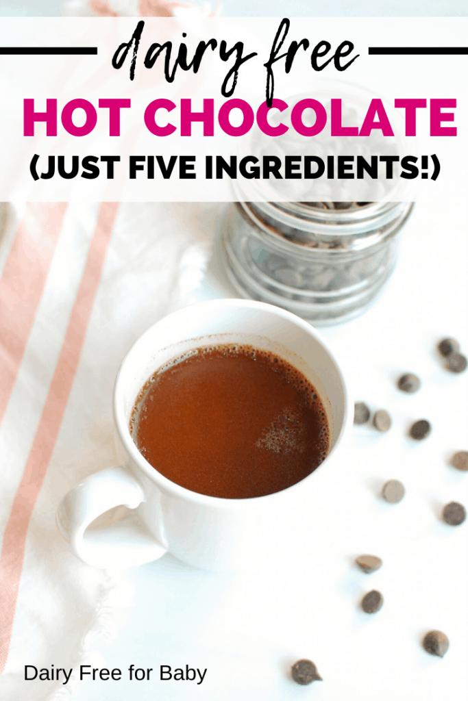 dairy free hot chocolate in a white mug