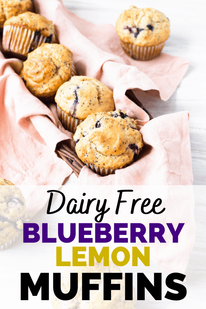 dairy free blueberry muffins in a basket with a pink napkin