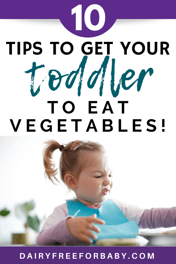 a little girl eating with an unhappy face, with a text overlay that says tips to get your toddler to eat vegetables