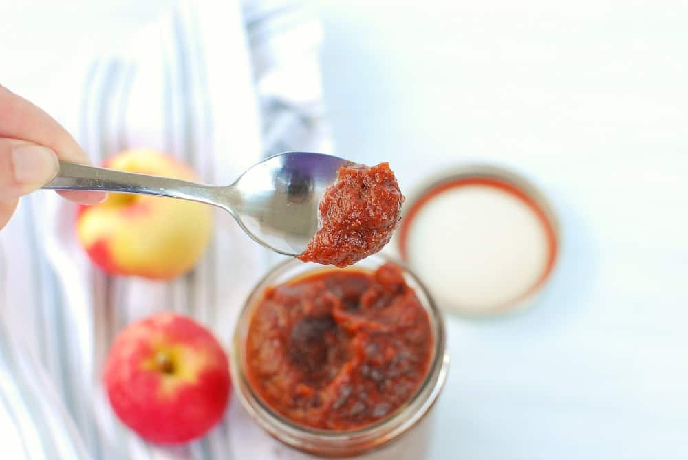 a spoonful of vegan apple butter