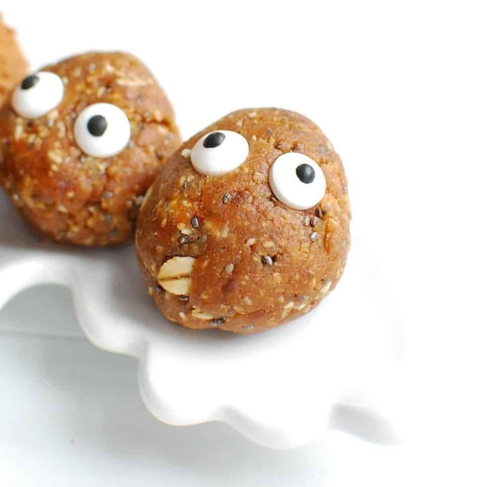 an apple peanut butter energy bite with edible eyeballs