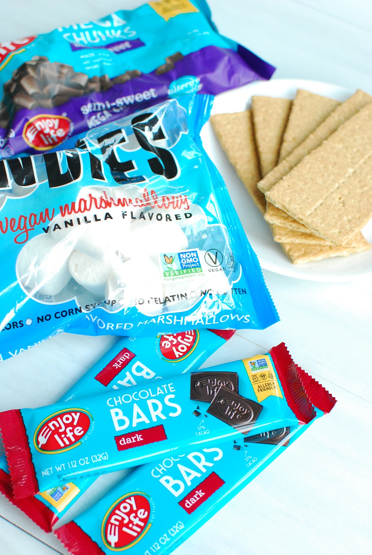 vegan chocolate bars, marshmallows, and graham crackers