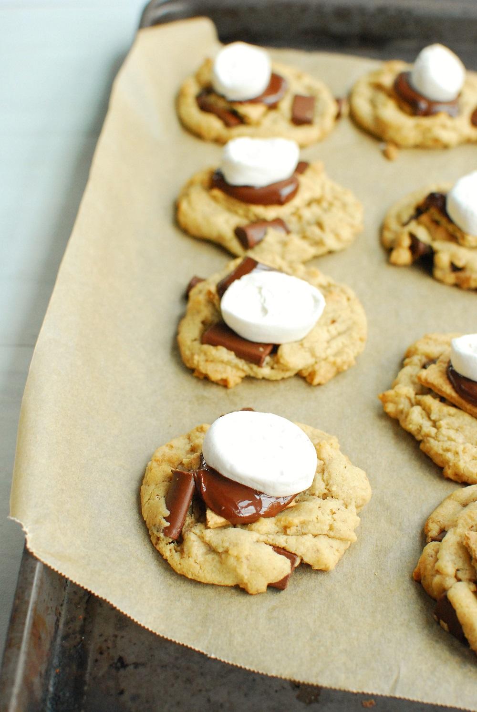 a baking sheet full of freshly baked vegan smores cookies