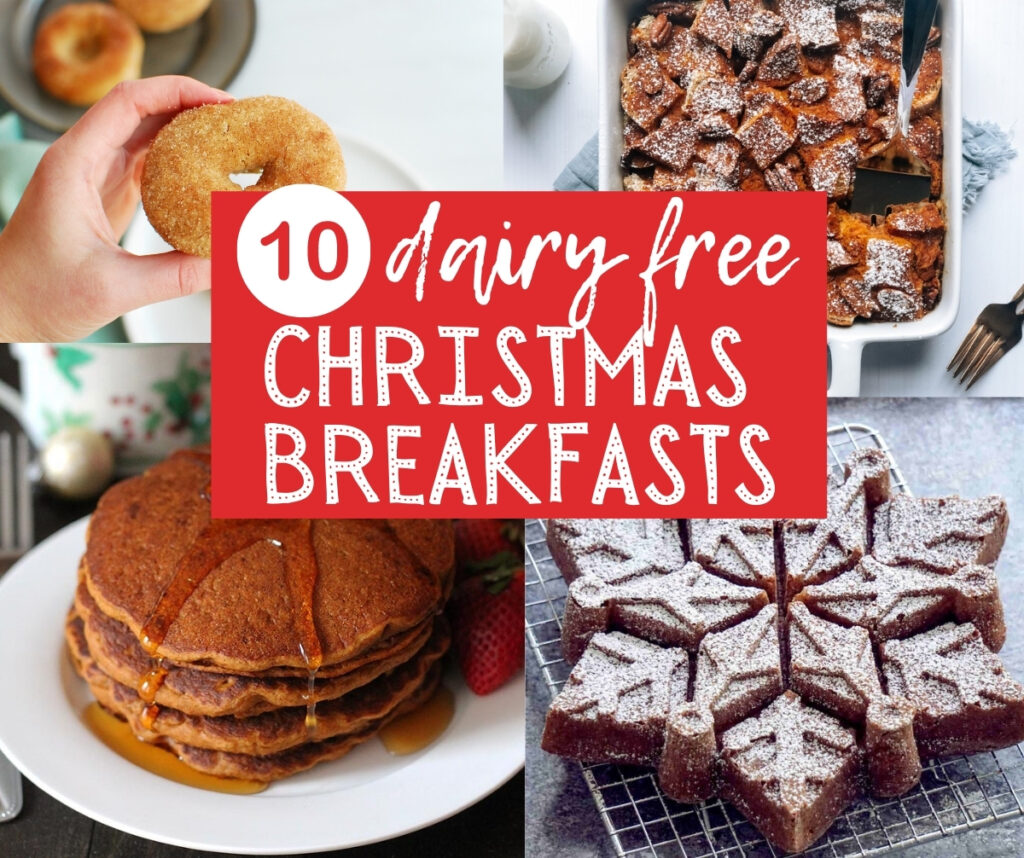 a collage of four different dairy free christmas breakfasts - pancakes, donuts, french toast bake, and snowflake cake