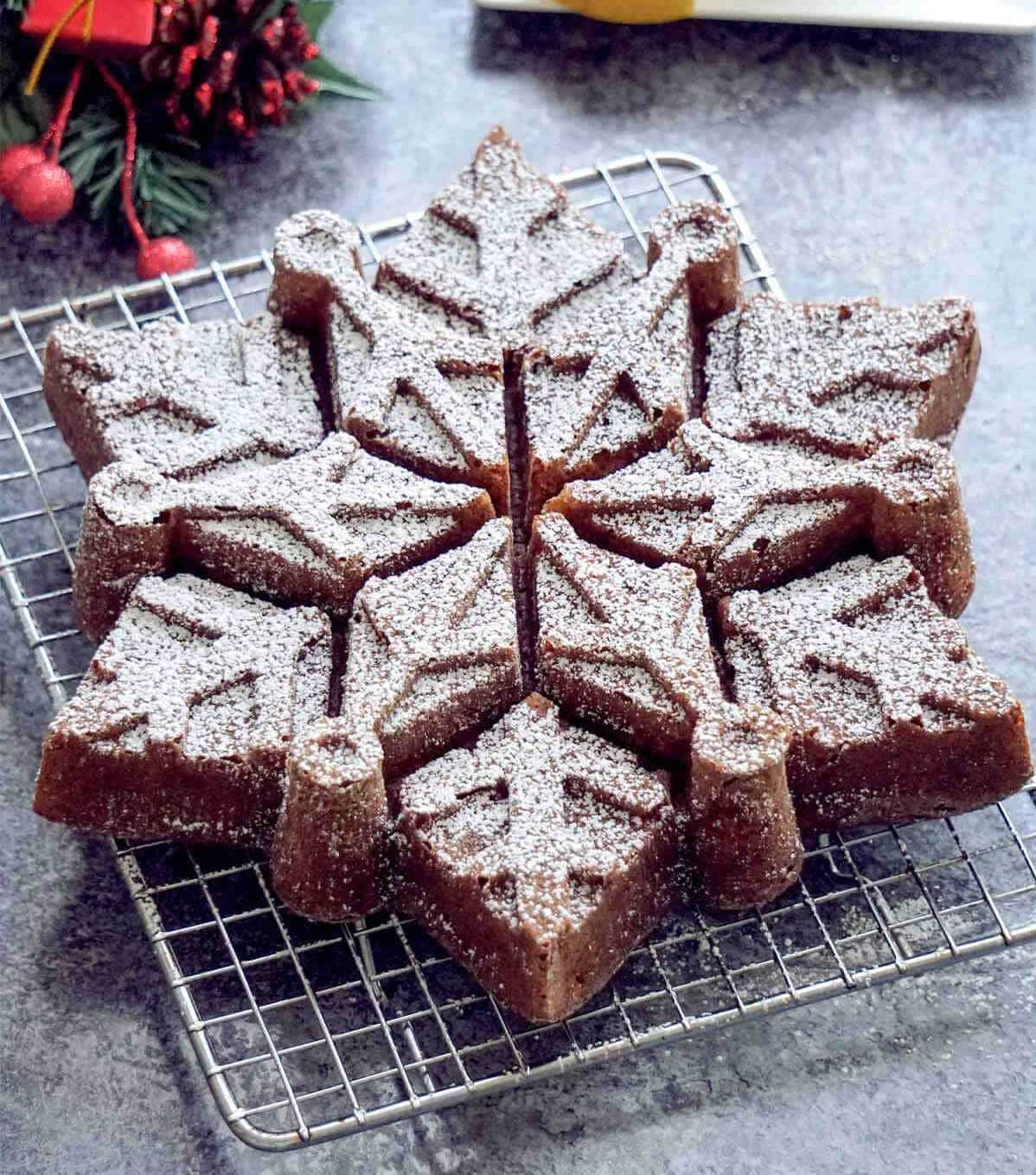 a holiday snowflake cake