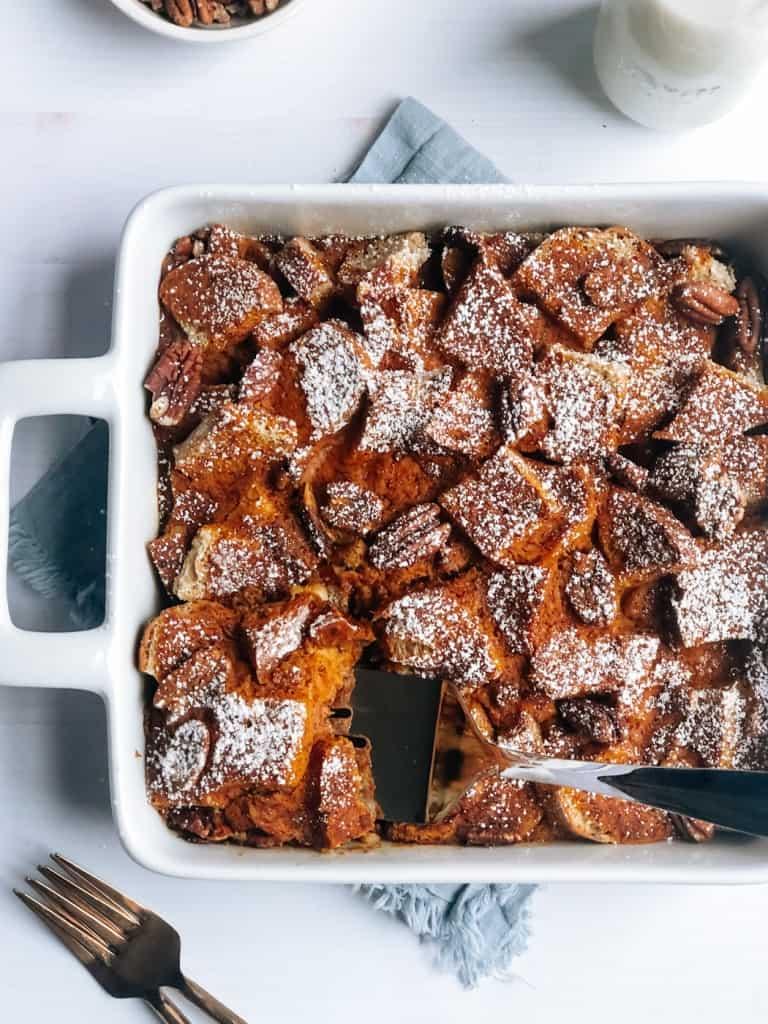 vegan pumpkin french toast casserole