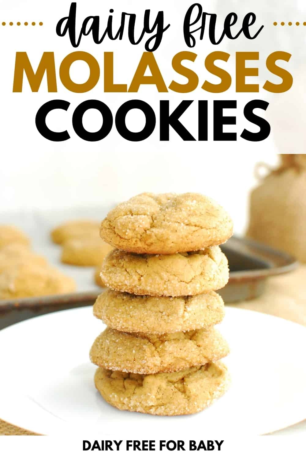 several dairy free molasses cookies stacked on top of eachother