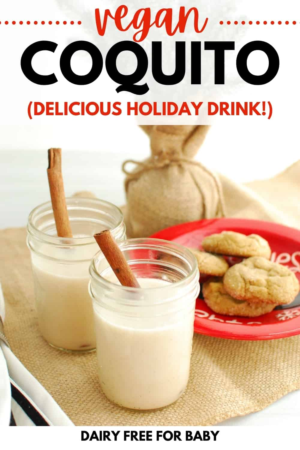 two small glasses of vegan coquito next to a plate of cookies