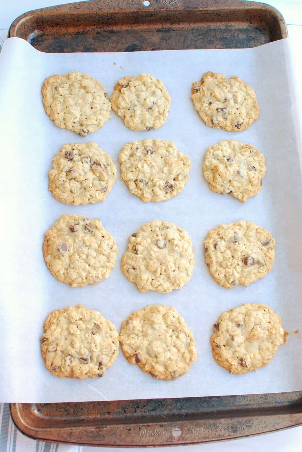 Cookies on a baking sheet lined with parchment paper.