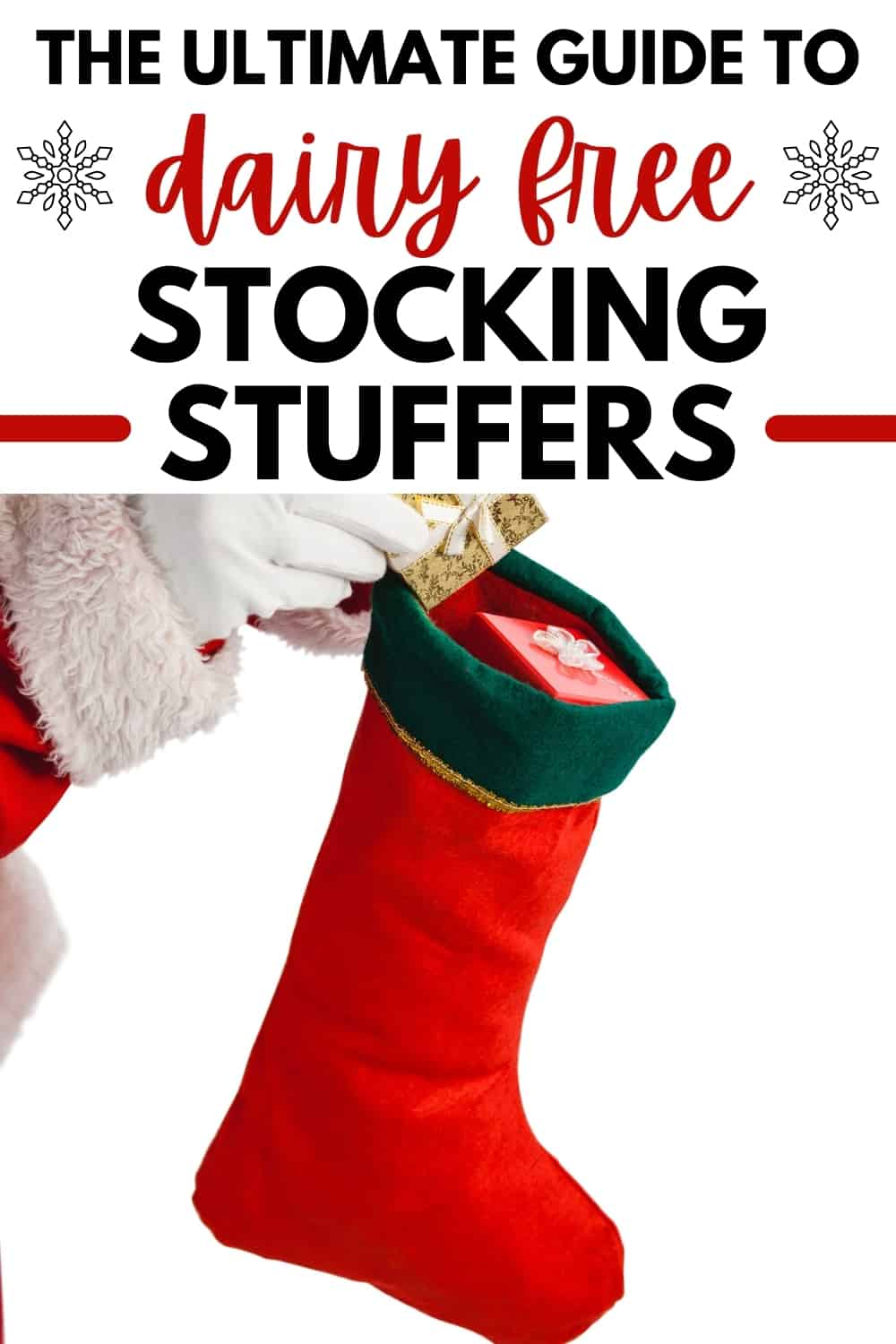 Santa's hand putting a dairy free stocking stuffer into a child's stocking