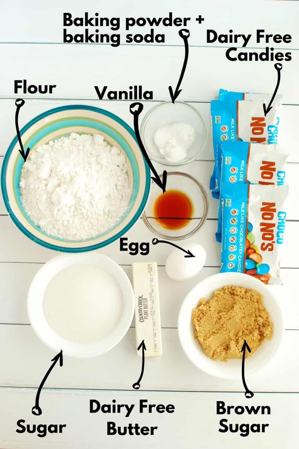 Overhead shot of all the ingredients needed to make cookies.