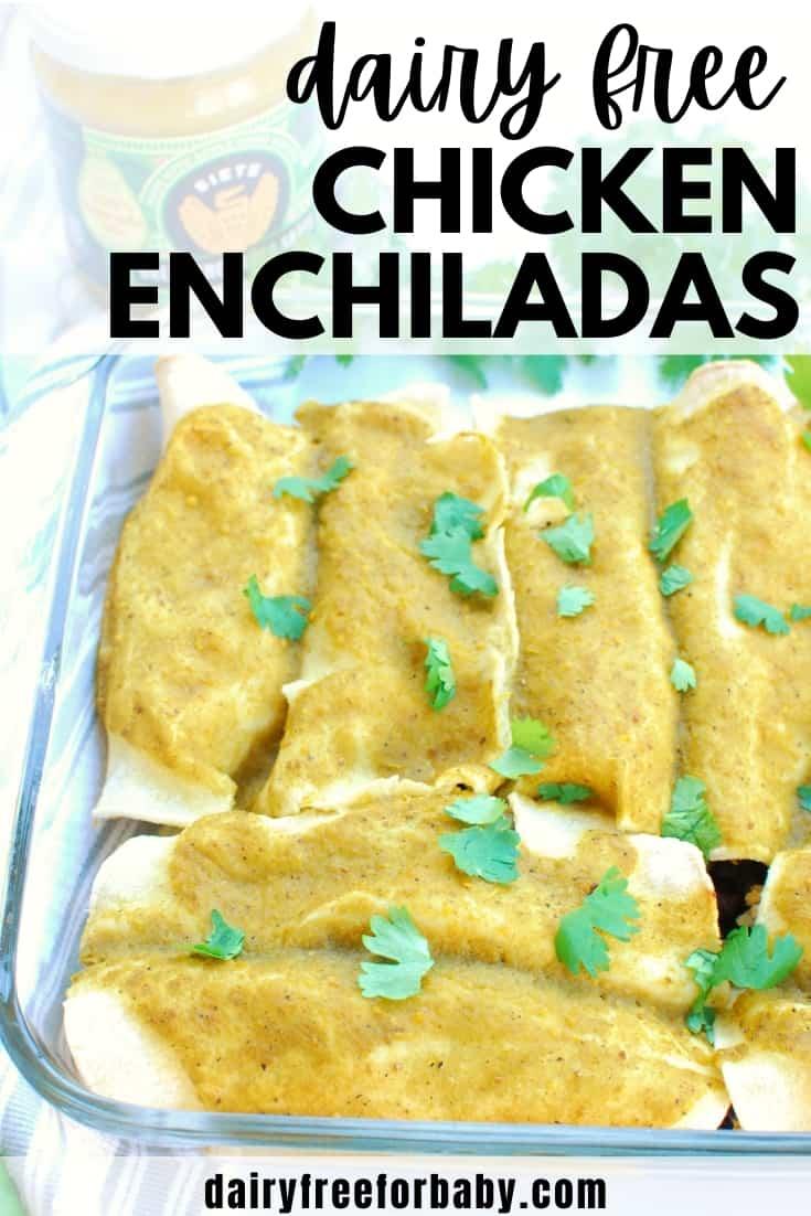 A casserole dish with dairy free enchiladas garnished with cilantro.