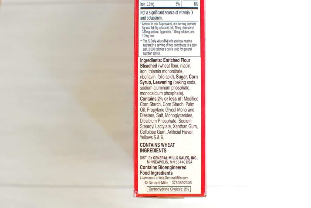 Label for Betty Crocker yellow cake mix ingredients.