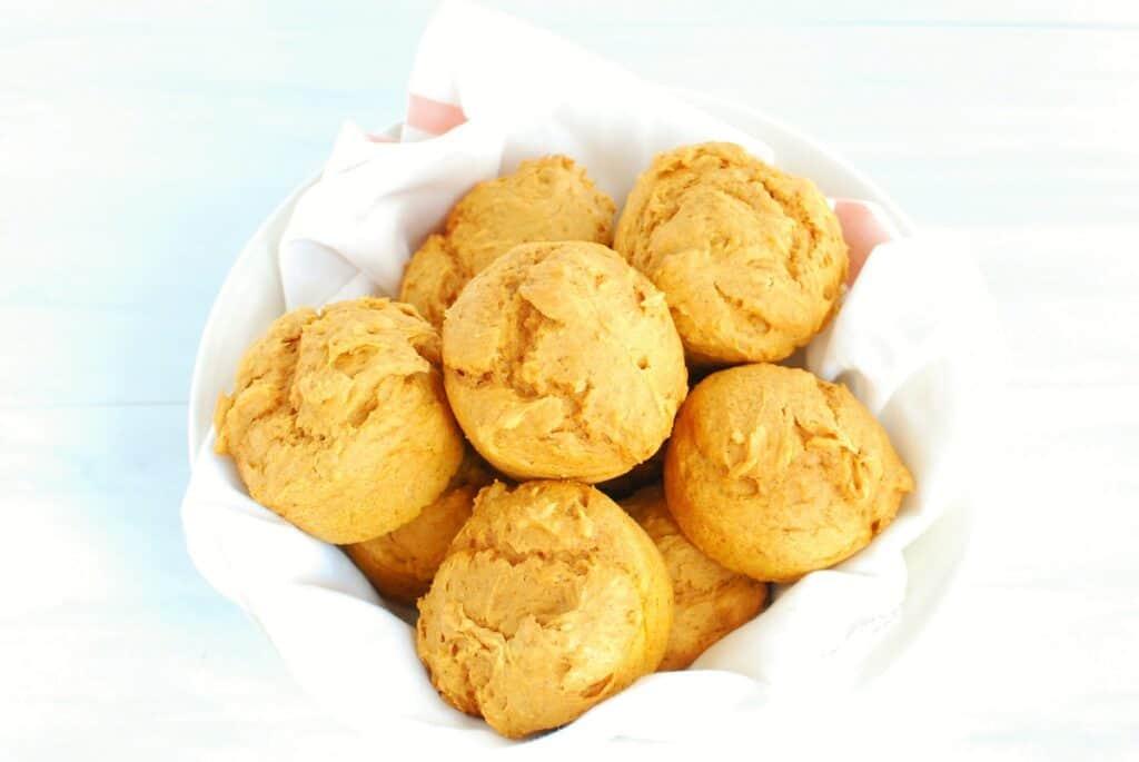A bowl with 3 ingredient pumpkin muffins.