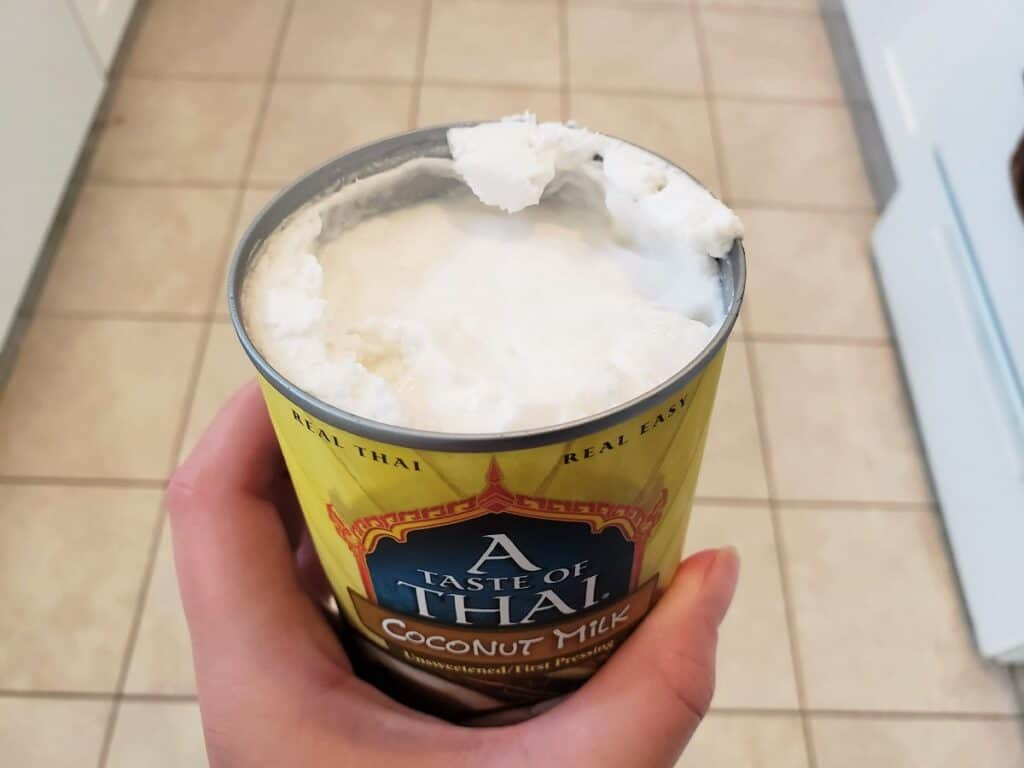 Coconut cream at the top of a can of coconut milk.